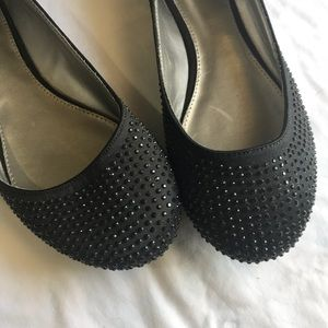 Sparkly Black Flats Career Professional 9W Concert